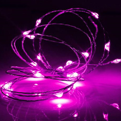 5m 50LED Silver Wire Battery Seed Fairy Lights - Pink
