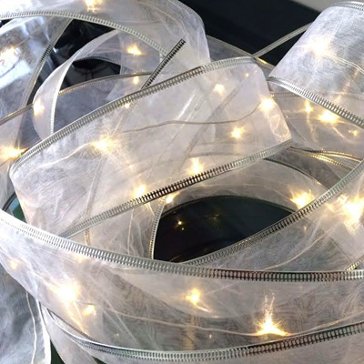 5m 50LED Silver Wire Silk Ribbon Battery Lights - Warm White