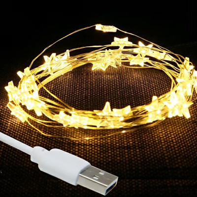 5m 50LED USB Silver Wire Seed Fairy Lights - Warm White