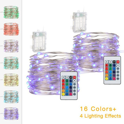 5m Silver Wire 16 Colors Battery Operated Seed String Fairy Lights