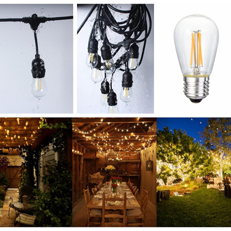 5m Weatherproof Bulb Exchangeable Connectable Festoon Lights - Warm White