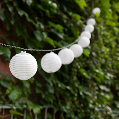 5m White Solar Lantern String Lights - Warm White