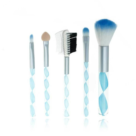 5pc Mini Make Up Brush Set FUNKY TWIST DESIGN *BLUE*