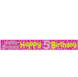 5th Happy Birthday Girl Banner