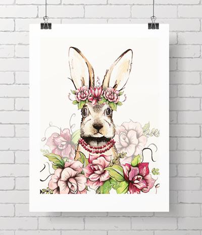 "5x7"" mini aloha bunny print"