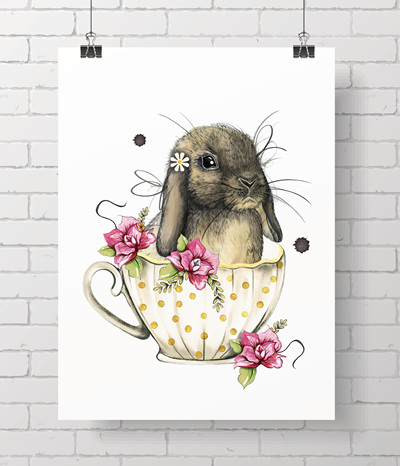 "5x7"" mini teacup bunny print"