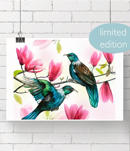 """5x7"""" Tui & Magnolia prints - 2 left"""