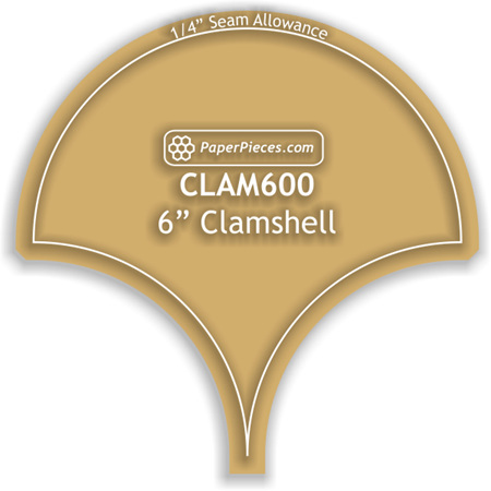 """6"""" Clamshell Acrylic Template with 1/4"""" seam allowance"""