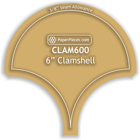 """6"""" Clamshell Acrylic Template with 3/8"""" seam allowance"""