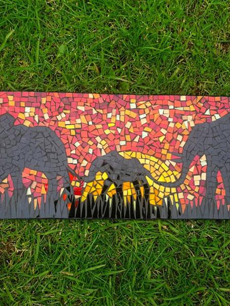 600 x 200mm Mosaic Plaque - Under an African Sky
