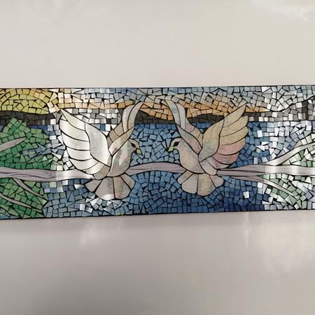 600 x 200mm Mosaic Plaque - World Peace