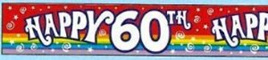 60th Birthday Banner - 9ft - Rainbow