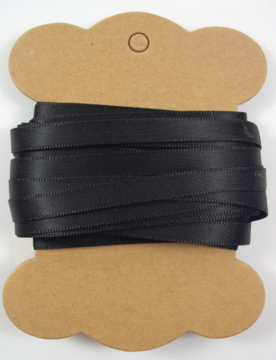 6mm Double-Sided Satin Ribbon x 10 Metres: Black Night