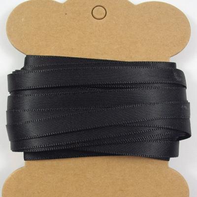 6mm Double-Sided Satin Ribbon x 10 Metres: Black Night