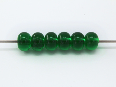6x Spacer beads - transparent emerald