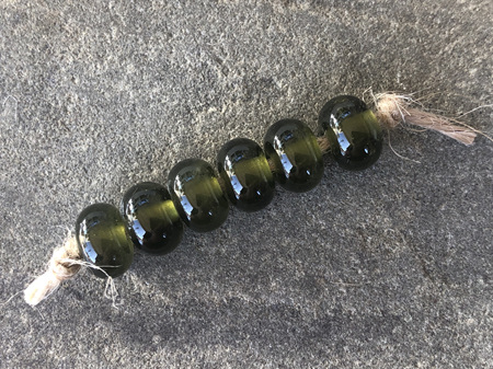 6x Upcycled antique bottle spacer beads - wine