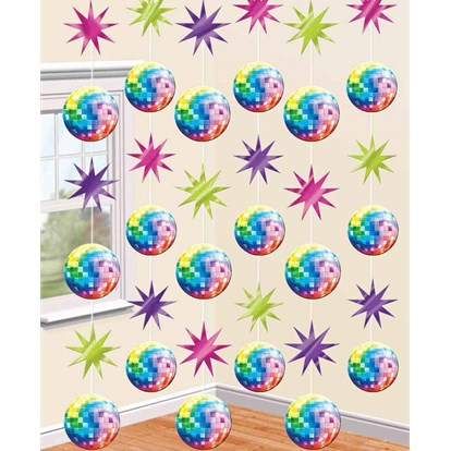 70's Disco Stars and Mirrorballs String Decorations