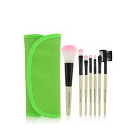 7pc Makeup Brush set in Case - Green
