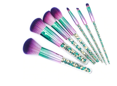 7pcs Green Diamond Unicorn Make Up Brush Set & BAG