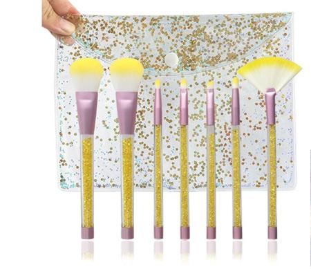 7pcs Unicorn Diamond Handle Glitter Makeup Brush Set - Yellow