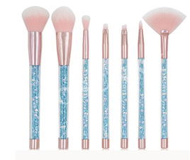 7pcs Unicorn Diamond Handle Glitter Makeup Brush Set - Blue
