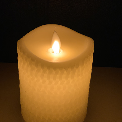 8cm Diameter Real Wax Crafted LED Candle - 10cm Height