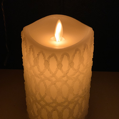 8cm Diameter Real Wax Crafted LED Candle - 12.5cm Height