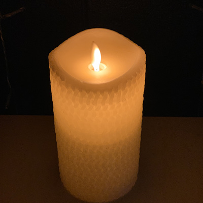 8cm Diameter Real Wax Crafted LED Candle - 15cm Height