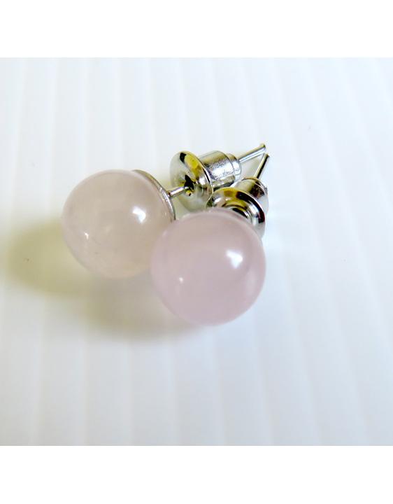8mm diameter rose quartz studs
