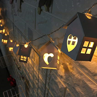 1.6m 10 White Wooden House Fairy Lights - Warm White