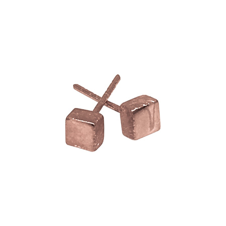 925 Rose Gold Plated Small Square Earring
