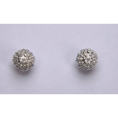 925 Sterling Silver Dotted Ball Earring