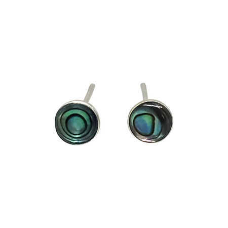 925 Sterling Silver Paua Round Edge Earring