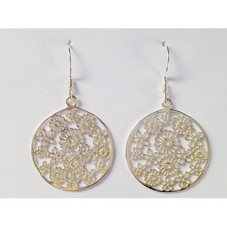 925 Sterling Silver Round Thin Lace Flowers Earring