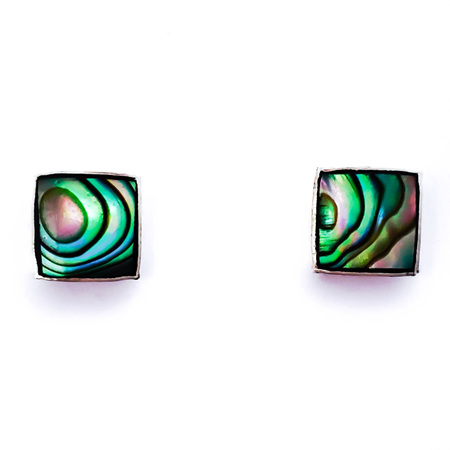 925 Sterling Silver Square Paua Earring