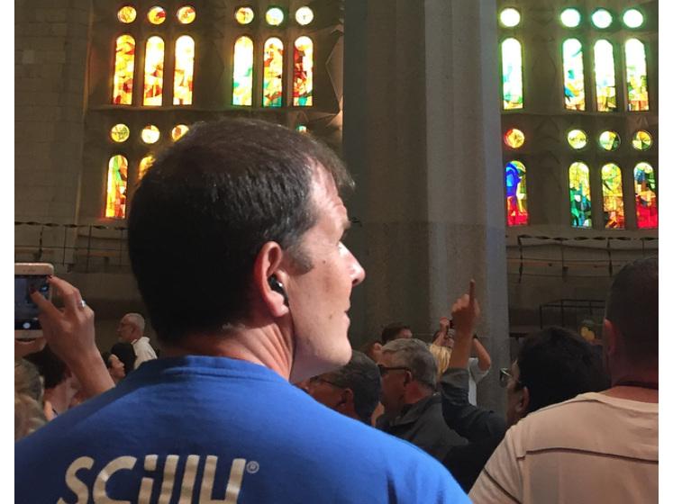 Scilly Billy inside the Basilica de la Sagrada Familia, Spain