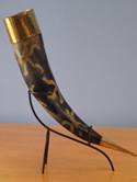 Drinking Horn Type 15 - Burnt on Design with Brass Fittings