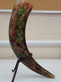Drinking Horn Type 25 - Green and Red with Black Decorations