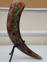 Drinking Horn Type 25A - Green and Red with Black Line Decorations