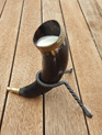 Drinking Horn Type 6  - Medium with Brass Rim and Plain Finial