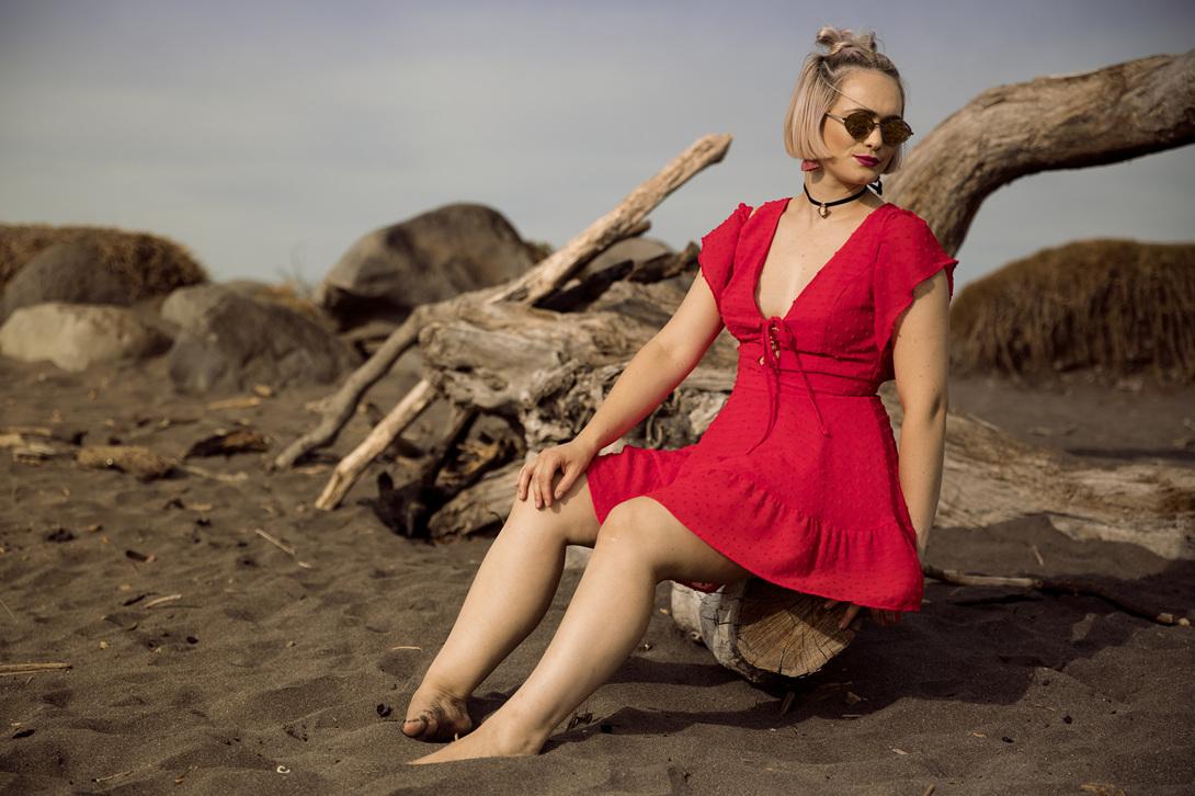 Cyan Dress Red