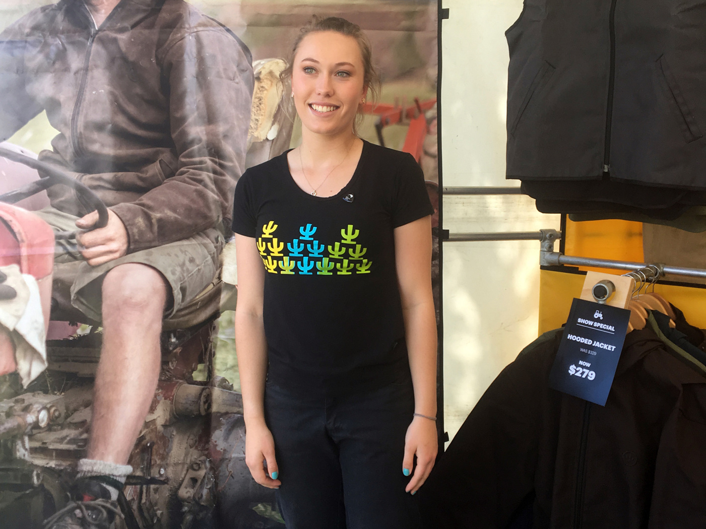 Britt proudly showcasing Cactus Outdoor's NZ Made outdoor clothing