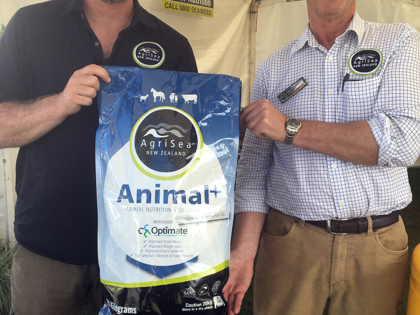 Glenn and Mark of AgriSea NZ Ltd with Animal+, Animal Nutrition and Optimate