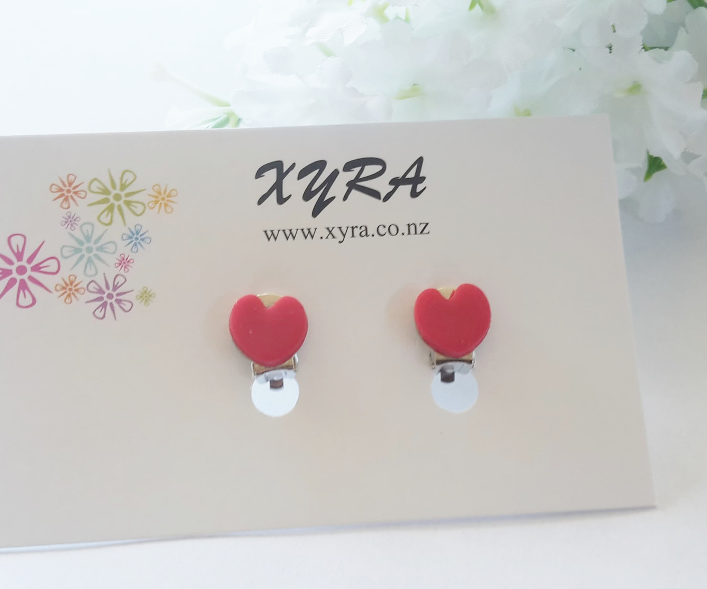 New in Xyra - Red Hearts Clip-ons