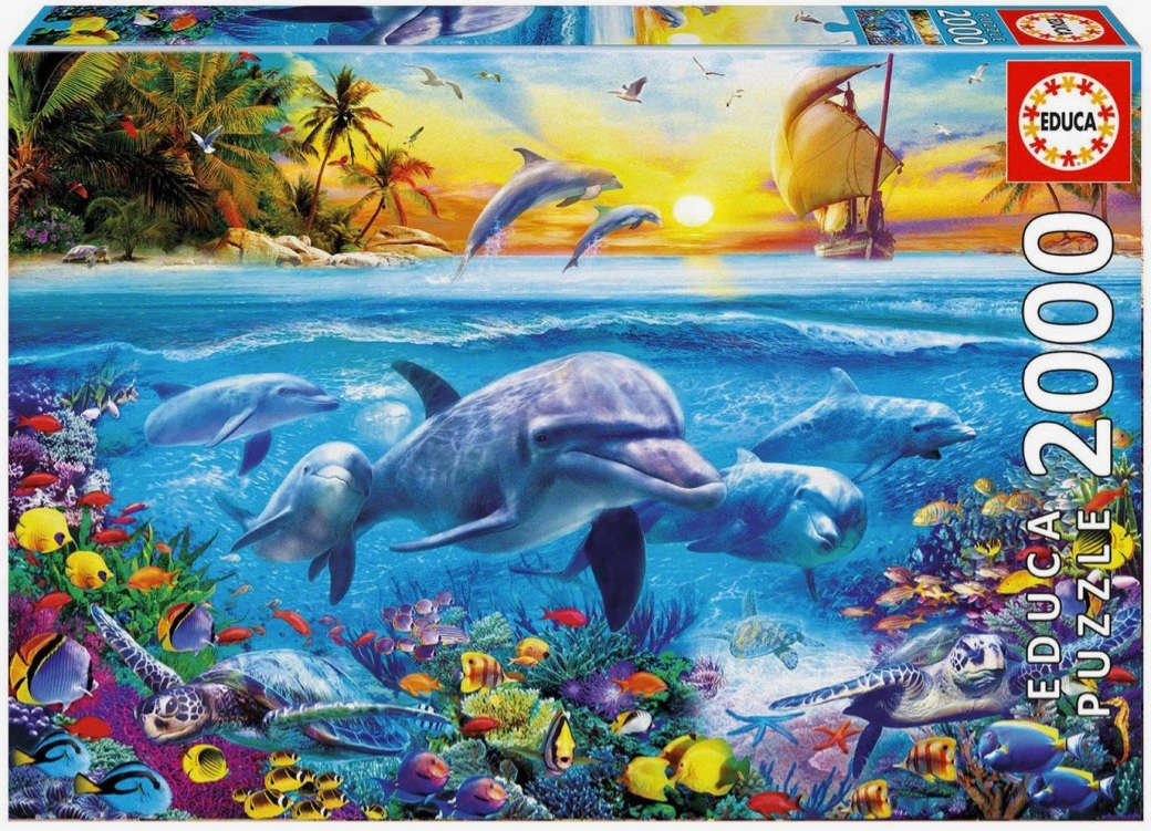 Educa 2000 Piece Jigsaw Puzzle: Family Of Dolphins