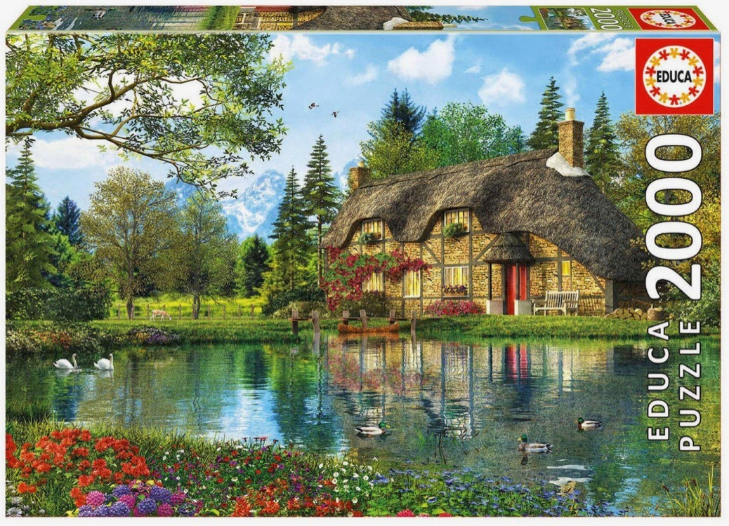 Educa 2000 Piece Jigsaw Puzzle: Lake View Cottage
