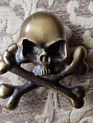 Pirate 1 - Brass Skull and Crossbones Badge with Antique Finish