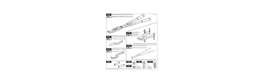 A range of spare parts available for loppers, saws and secateurs