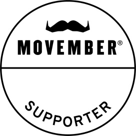 A black moustache draws the eye to Movember Supporter wording