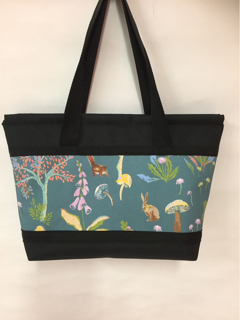 A creatures in the garden print.  Great bag for a new mum present